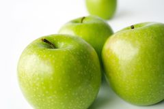 Green apples. Isolated fresh green apples on white Royalty Free Stock Images