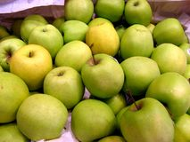 Green apples. Close up, at the market Stock Photography