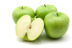 Green apples. Isolated on the white background royalty free stock photos