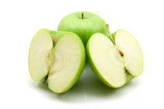 Green apples. Geen apples isolated on the white background stock photos
