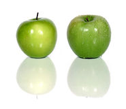 Green apples. Two green apples over white, one with waterdrops (see similar in my portfolio Royalty Free Stock Photo
