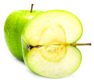 Green apples. The ripe juicy green apples on white. Isolation Royalty Free Stock Image