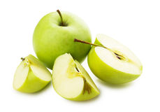 Green apples and apple slices on white background Royalty Free Stock Photos