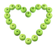 Green Apples Arranged in Heart Shape Royalty Free Stock Photo
