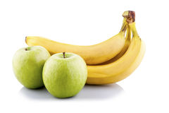 Green apples and bananas Royalty Free Stock Photos