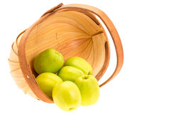 Green apples and basket Stock Photo
