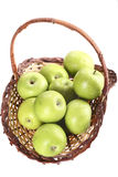 Green apples basket. Isolated basket of green apples Stock Photos