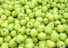 Green apples in bin Royalty Free Stock Photos