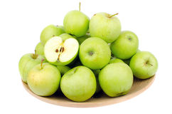Green apples. In a bowl - isolated on white Stock Photos