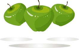 Green apples, brown roots on white background, shadows, hand drawing, painting Royalty Free Stock Images