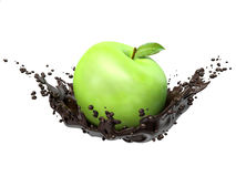Green apples in chocolate splash,  on white background Stock Images