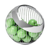 Green Apples in the Chrome Steel Wire Vase. 3d Rendering Royalty Free Stock Photos