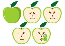 Green apples with different characters Royalty Free Stock Photo