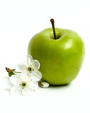 Green apples and flowers Stock Images
