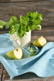 Green apples and fresh mint Stock Photos