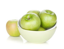 Green apples in fruit bowl Royalty Free Stock Photography