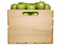 Green Apples in Fruit Crate. Green Apples in Wood Fruit Crate on White Background Royalty Free Stock Photography
