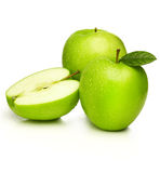Green apples -granny smith. Green apples with water droplets on white background Royalty Free Stock Photography
