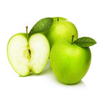 Green apples -granny smith. Green apples with water droplets on white background Royalty Free Stock Photo