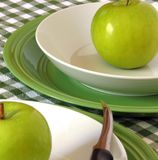 Green Apples. Granny Smith apples, on bowls, ready to slice and eat royalty free stock photography