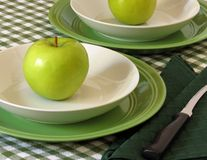 Green Apples. Granny Smith apples, on bowls, ready to slice and eat stock photography