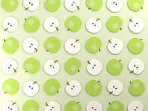 Green apples on green food background. Flat lay design. 3d rendered illustration Royalty Free Stock Photos
