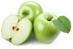 Green apples with half. Royalty Free Stock Image