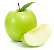 Green apples and half of apple Royalty Free Stock Images