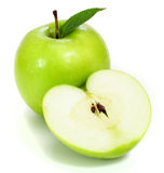 Green apples and half of apple Royalty Free Stock Photo