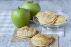 Green Apples With Hand Pies Close Up Stock Photography