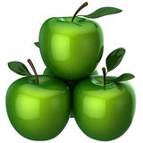 Green apples (Hi-Res). Small group from four green shiny delicious Apples with little leaves. This is a detailed 3D rendering. Isolated on black Royalty Free Stock Images