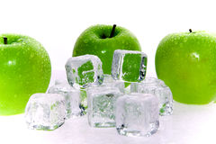 Green Apples And Ice Cubes Royalty Free Stock Photo