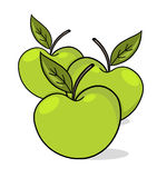 Apples illustration. Fresh green apples cartoon Royalty Free Stock Photos