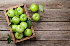 Free Green Apples In Wooden Box Stock Image - 119271781