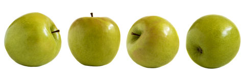 Green apples isolated. On white stock photo
