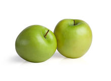 Green apples isolated on white background. Royalty Free Stock Photos