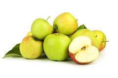 Green apples with leaf isolated on white Stock Images