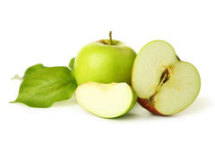 Green apples with leaf isolated on white Stock Image