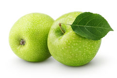 Green apples with leaf isolated on a white Royalty Free Stock Image
