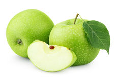 Green apples with leaf and slice isolated on white Royalty Free Stock Photography