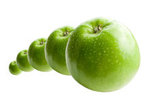 Green Apples in Line Royalty Free Stock Photo