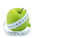 Green apples Measure around the waist on white backgrou Stock Images