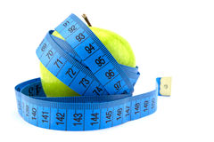 Green apples measured the meter, sports apples Royalty Free Stock Photo