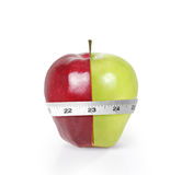 Green apples measured the meter Stock Image