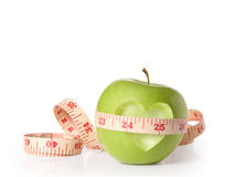 Free Green Apples Measured The Meter On  White Royalty Free Stock Images - 36485929