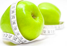 Green apples with measurement Stock Photo