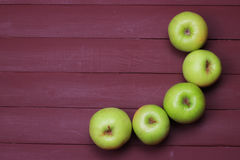 Green apples on old wood table. Healthy food. Green apples on old wood table Royalty Free Stock Images