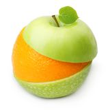 Green apples and orange fruit slices Stock Images