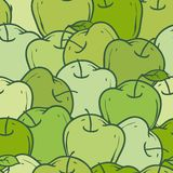 Green Apples Pattern. Ripe Green Apples Seamless Pattern. Color vector illustration Royalty Free Stock Photo