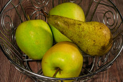 Green apples and pear Stock Photo